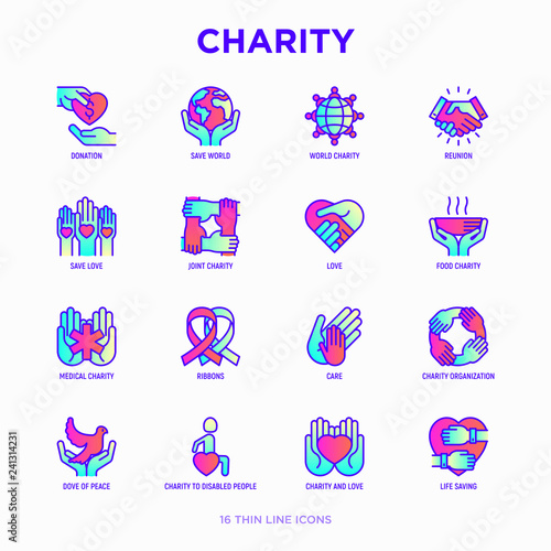 Autocollant pour porte Creatures Charity thin line icons set: donation, save world, reunion, humanitarian aid, ribbon, medical support, charity to disabled people, life saving. Modern vector illustration.