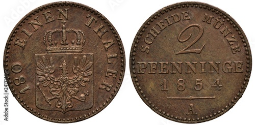Fotografie, Obraz  Germany German Prussia Prussian coin 2 pfennig or 1/180 one hundred and eighth o