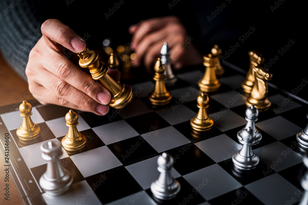 Fototapety, obrazy: businessman hand control chess play figure business strategy manage ideas concept retro image tone