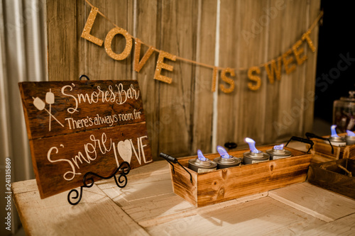 Fotografie, Obraz  Smores Bar at event with Love is Sweet quote.
