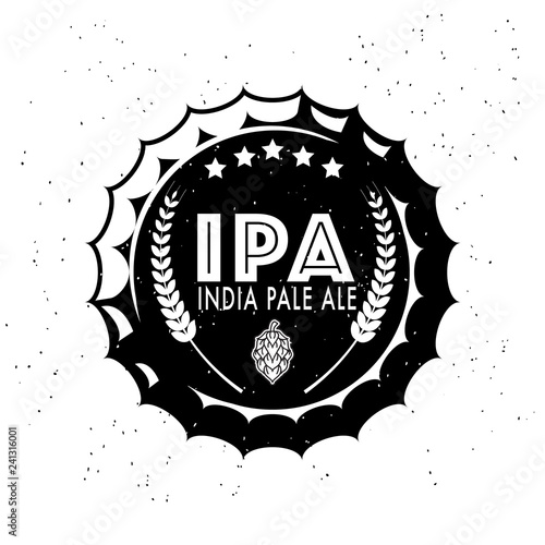 Photo  IPA Vintage craft beer logo with wheat ear and inscription on bottle cap on whit