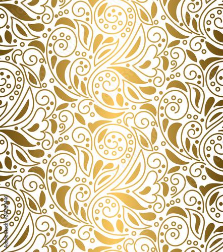 kwiecisty-bezszwowy-wzor-z-zawijasami-i-liscmi-tekstura-roslinna-do-tkanin-opakowan-tapet-i-papieru-modny-zloty-luksusowy-tlo-wektor