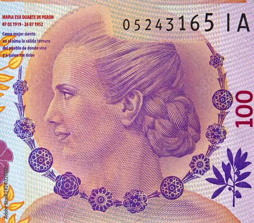 Eva Peron portrait on Argentine 100 peso (2017) banknote Canvas-taulu