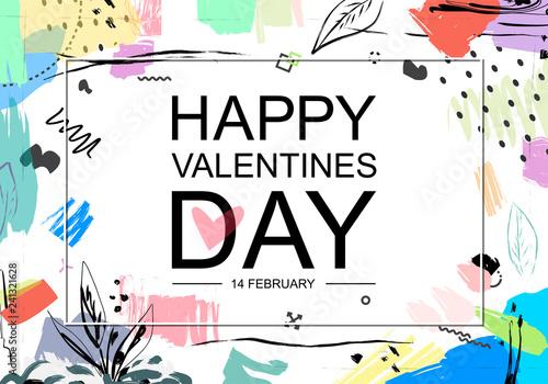 Printed kitchen splashbacks Valentine's day artistic hand drawn greeting card or background in trendy style.