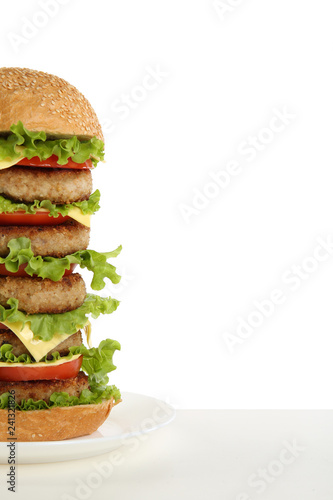 Tasty huge burger with cheese on white background