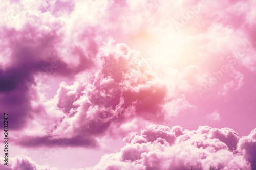 Foto auf AluDibond Rosa Lovey Creative background, pink, fluffy, vanilla clouds. The concept of lightness, magic, magic, fairy tale, good. Background for cards, flyers.