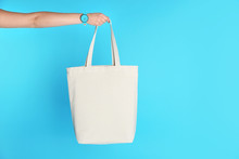 Woman Holding Eco Bag On Color...