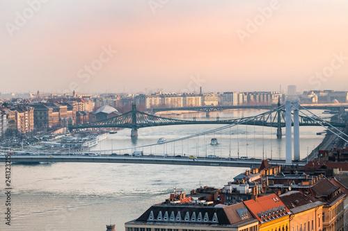 Deurstickers Historisch geb. Panorama of Budapest with bridges, Hungary