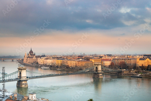 Spoed Foto op Canvas Historisch geb. Panorama of Budapest Hungary