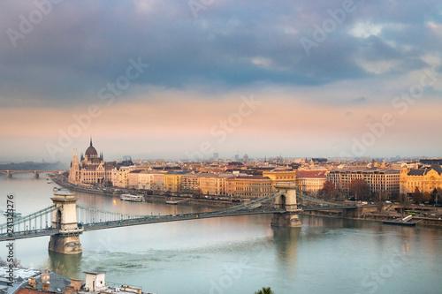 Deurstickers Historisch geb. Panorama of Budapest Hungary