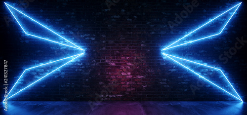 Retro Sci Fi Neon Futuristic Abstract Glowing Blue Triangle Lights On Grunge Empty Brick Wall With Concrete Reflection Floor Background Club Laser 3D Rendering - 241327847