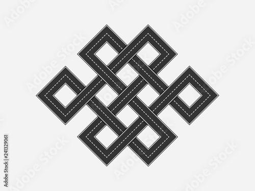 Fotografía  Black Road in the form of a figure endless knot - Shrivatsa