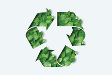 Recycling Icon Made From Green...