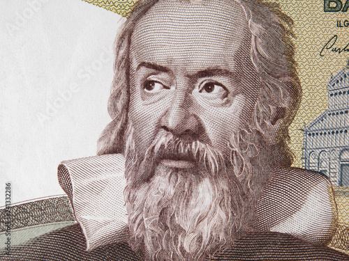 Galileo Galilei on Italy money. Genius inventor, philosopher, astronomer, mathematician. Famous scientist in physics and astronomy, discoverer of telescope.
