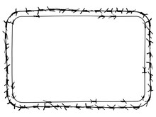 Black Barbed Wire Vector Rectangular Frame With Round Corners. Metal Fence Illustration Isolated On White Background. Graphic Military Border Object