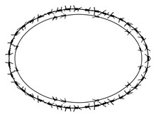 Black Barbed Wire Vector Ellipse Frame. Metal Fence Illustration Isolated On White Background. Graphic Military Border Object
