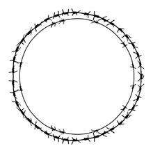 Black Barbed Wire Vector Round Frame. Metal Circle Fence Illustration Isolated On White Background. Graphic Military Border Object