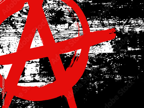 Fotografia Black and white grunge wood texture with red ink hand drawn symbol of anarchy