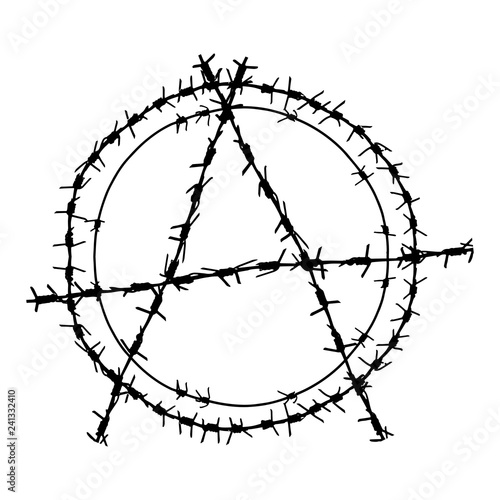 Black barbed wire vector round anarchy  symbol Canvas Print