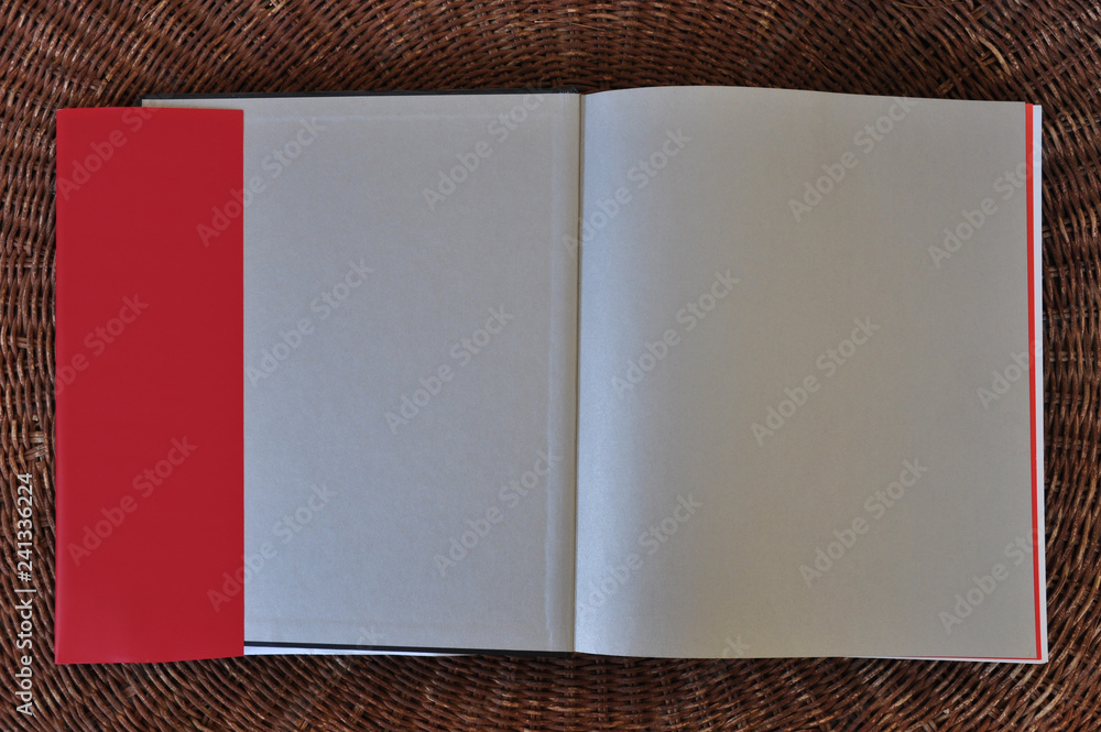 Fototapeta blank book pages paper background and dust jacket flaps