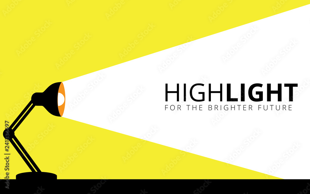 Fototapety, obrazy: desk lamp illuminates its light to the wall vector illustration design