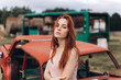 Hipster stylish portrait of young ginger haired girl with freckles outdoors. Natural beauty, emotional, freedom concept