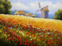 Fine Art. Oil Paintings  Rural Landscape. Old Village, Ukraine.