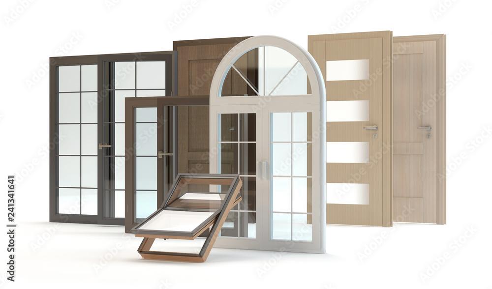 Fototapeta Windows and doors, 3d illustration