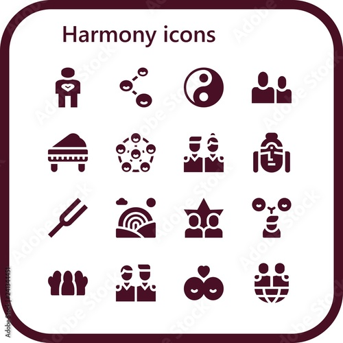 Fotografía  Vector icons pack of 16 filled harmony icons