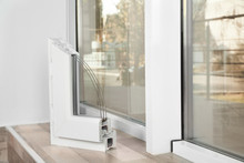 Sample Of Modern Window Profile On Sill Indoors, Space For Text. Installation Service