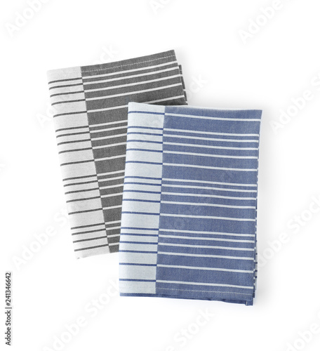 Fabric napkins for table setting on white background