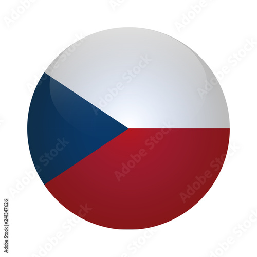 Fotografiet Czech Republic Flag Vector Round Icon - Illustration