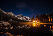 Emerald Lake Lodge At Night