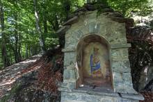 Wayside Shrine On The Hiking Trail Between The Mountain Villages Of Rasa And Bordei, Centovalli, Canton Ticino, Switzerland, Europe