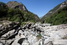 Granite Rock Formations In The Maggia River In The Maggia Valley, Valle Maggia, Ponte Brolla, Canton Of Ticino, Switzerland, Europe