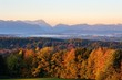 Morning atmosphere, view from Peretshofener Hohe near Dietramszell, Konigsdorf with Zugspitze and Ammergauer Alps, Upper Bavaria, Alpine foothills, Bavaria, Germany, Europe