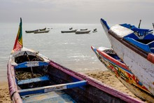 Traditional Fishing Boats On The Coast Of Saly, Thies Region, Senegal, Africa