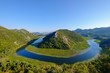 River bend of the river Rijeka Crnojevica, view from the viewpoint Pavlova Strana, national park Skutarisee, near Cetinje, Montenegro, Europe