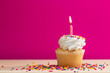 canvas print picture - Yellow Cupcake with candle and sprinkles on a pink background, with room for text