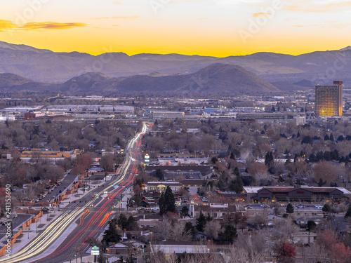 Fototapeta City of Sparks, Nevada, cityscape long exposure photograph.