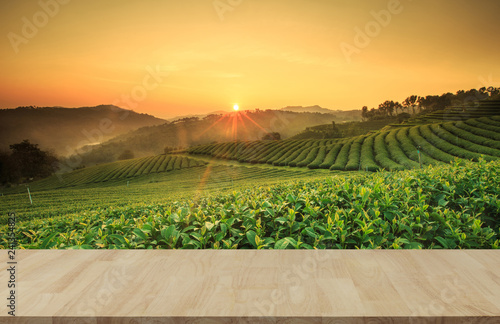 Foto auf AluDibond Melone Empty wooden table with view of mountain or wooden desk with plantation nature with bokeh background, copy space for your text