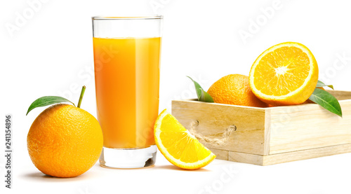 Foto op Canvas Sap Glass of fresh orange juice with picked in a wooden box and on white background, Fresh fruits Orange juice in glass with group of