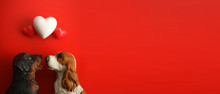 Top View Of Happy Couple Dog Looking At Hearts On Red Background With Copy Space. Happy Valentines Day Background.