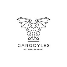 Gargoyles Gargoyle Logo Vector Outline Illustration