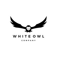 White Owl Logo Vector Icon Ill...