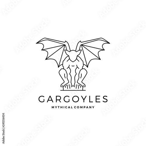 gargoyles gargoyle logo vector outline illustration Wallpaper Mural