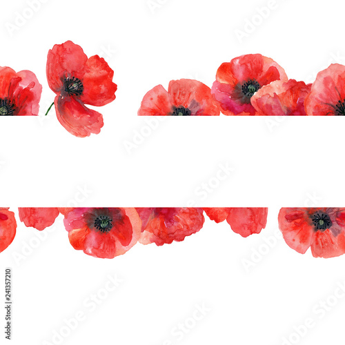 Fotografie, Obraz Seamless watercolor template with poppies