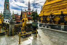 Wat Phra Kaew,Temple Of The Emerald Buddha Located In The Same Area Of The Grand Palace On The Cloudy Day. Wat Phra Kaew And The Grand Palace Is One Of The Best Known Landmarks In Bangkok,Thailand