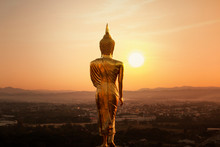Golden Buddha Statue In The Morning,Nan Province,Thailand