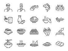 Japanese Food Line Icon Set 2. Included The Icons As Sushi, Sashimi, Maki, Sushi Roll, Tonkatsu And More.